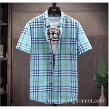 Mens cotton yd check short sleeves shirt